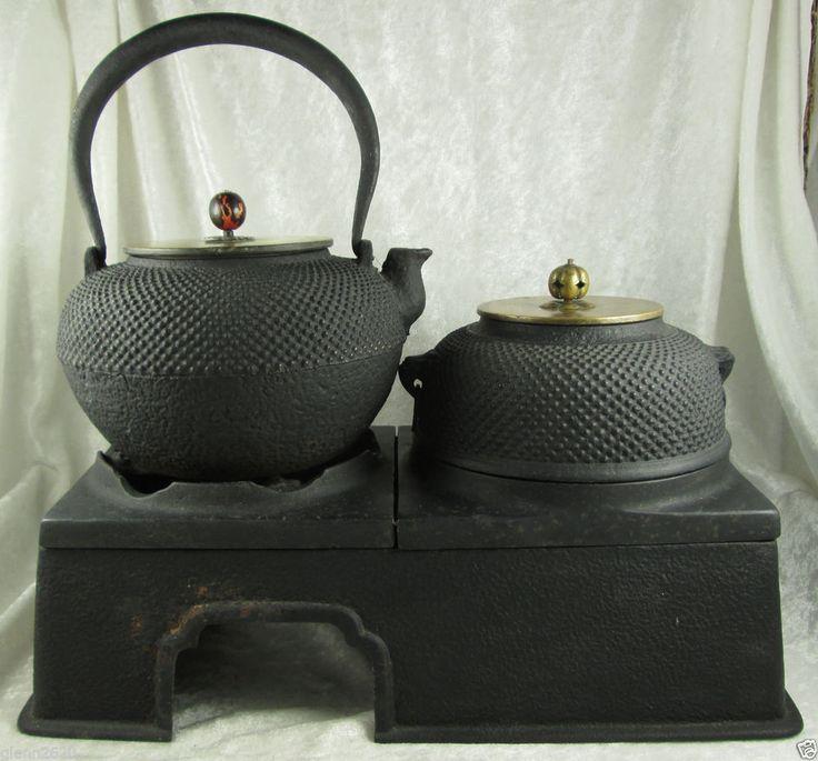 Japanese Tea Ceremony Cast Iron Chagama Kama Kettle Tetsubin Arare Cook Stand