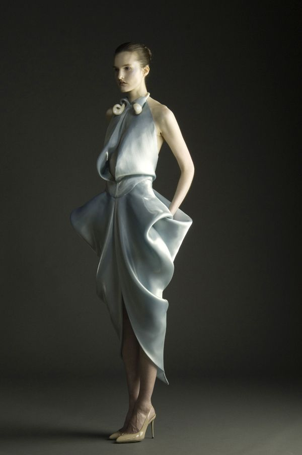 Tactile Opalescence - dress with dimensional draping detail; sculptural fashion // Hannah Soukup