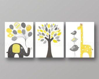 Yellow and gray Nursery art baby nursery decor nursery print Kids art elephant giraffe bird Tree Set of three prints