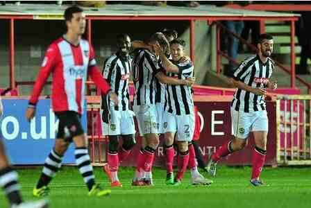 Exeter City 0 Notts Co 2 in Sept 2014 at St James Park. Notts Co moved up to 5th in League 2 with this midweek away win.