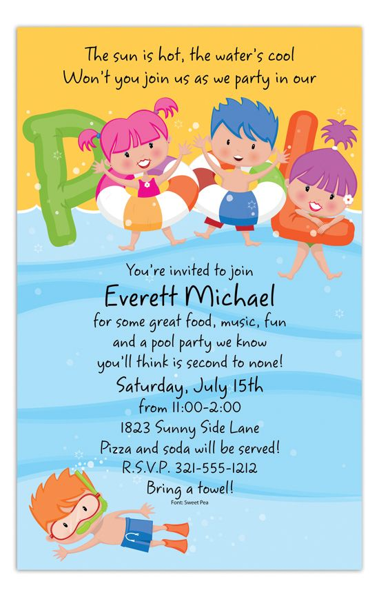 71 Best Pool Party Invitations Images Parties