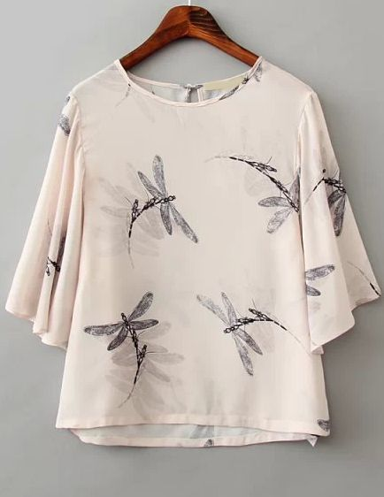 White Short Sleeve Dragonfly Print Crop Blouse 14.76