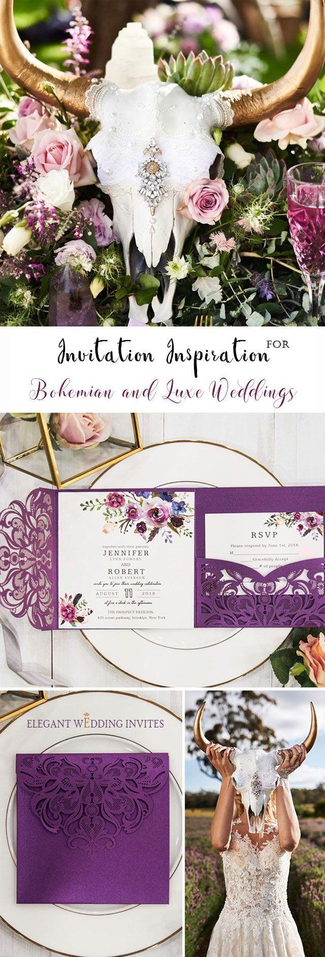 wedding invitation decoration clip art%0A Bohemian Luxe magenta purple toned floral laser cut wedding invitation  EWWS