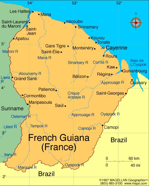 French Guiana Atlas Maps And Online Resources Infopleasecom - South america french guiana map