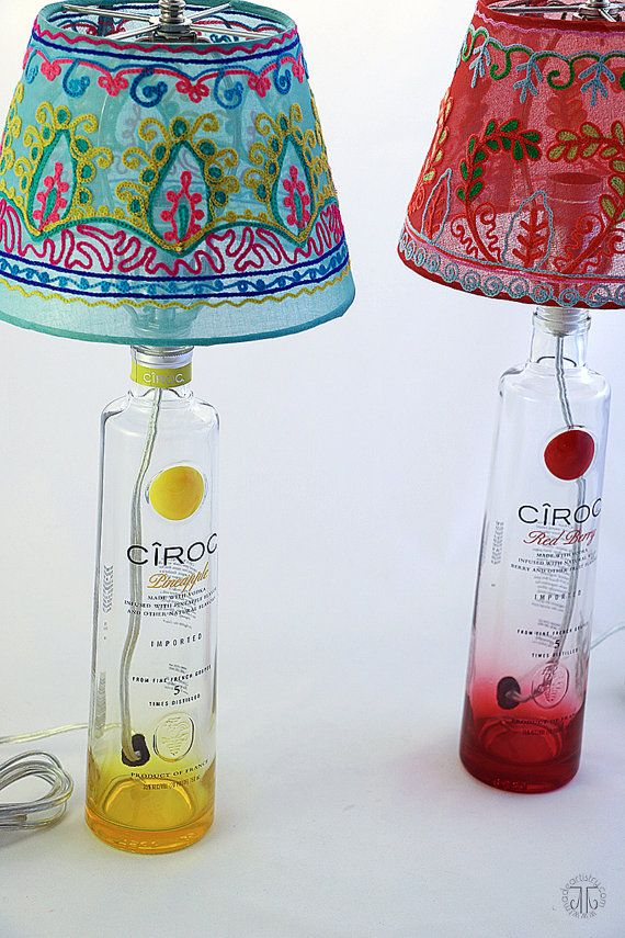 Cîroc Pineapple Recycled Liquor Bottle Lamp by TaylorMadeArtistry