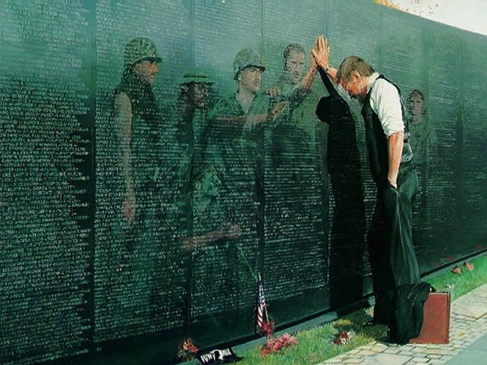 Vietnam War Memorial. This a beautiful depiction. When the wall traveled to our area we visited it with my step-Dad. Veterans have such a heavy survivor's guilt, I have never seen him so upset.