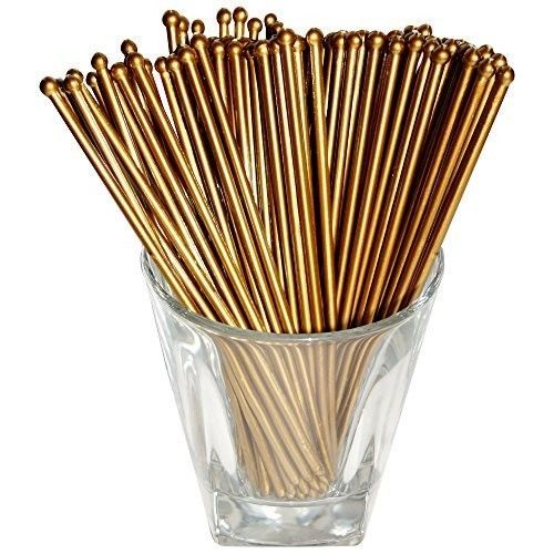 Plastic Swizzle Sticks Stirrers Set Party Mixing Drinks Cocktails 48 Count Gold #SwizzleSticks