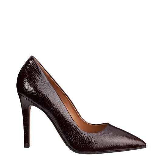 piele lacuita, talpa gomma tunith, toc 95mm, Pantofi eleganti 2065 CROCO T.MORO