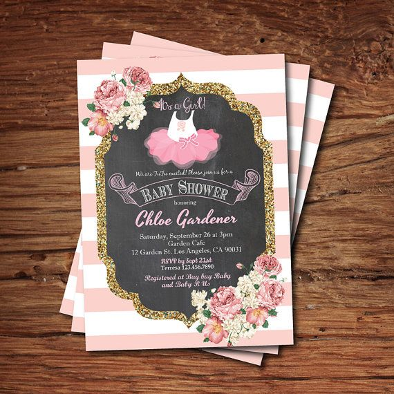 Tutu baby shower invitation. Baby girl shower invitation. Chalkboard, French coral pink white stripes, gold glitter, pink tutu invite. B133