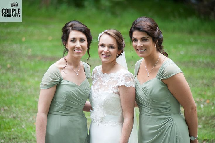 The bridesmaids in their beautiful muted mint dresses. Wedding photography at The Brooklodge Hotel by Couple Photography.