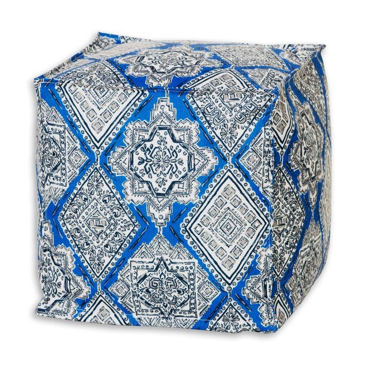 Brite Ideas Decorating Milan Cobalt Seamed Zippered Beads Footstool - BP13S8023