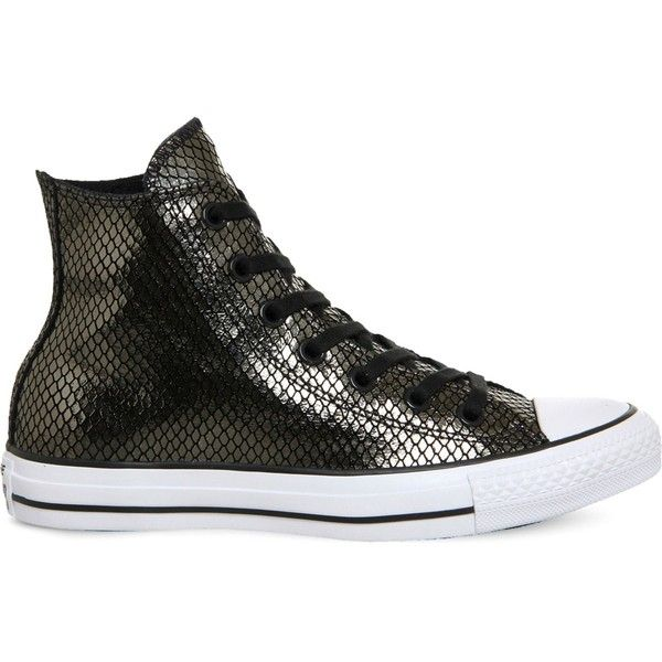 Converse All Star snake-effect metallic trainers ($37) ❤ liked on Polyvore featuring shoes, sneakers, rubber shoes, cap toe sneakers, rubber sneakers, star shoes and toe cap shoes