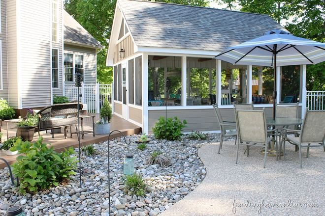 Porch Decorating Ideas Like this idea of a free standing screen porch behind house.