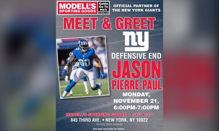 Jason Pierre-Paul Meet and Greet Hosted By Modell's Sporting Goods - http://bleedbigblue.com/jason-pierre-paul-meet-greet-hosted-modells-sporting-goods/