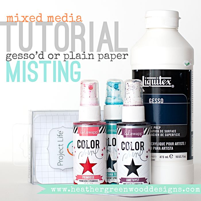Heather Greenwood | Mixed Media Tutorial | misting experiment on project life grid cards... see the difference between misting on gesso'd paper and misting on plain paper