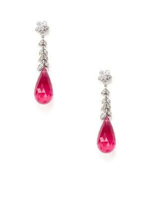 Pink Tourmaline Briolette Floral Drop Earrings