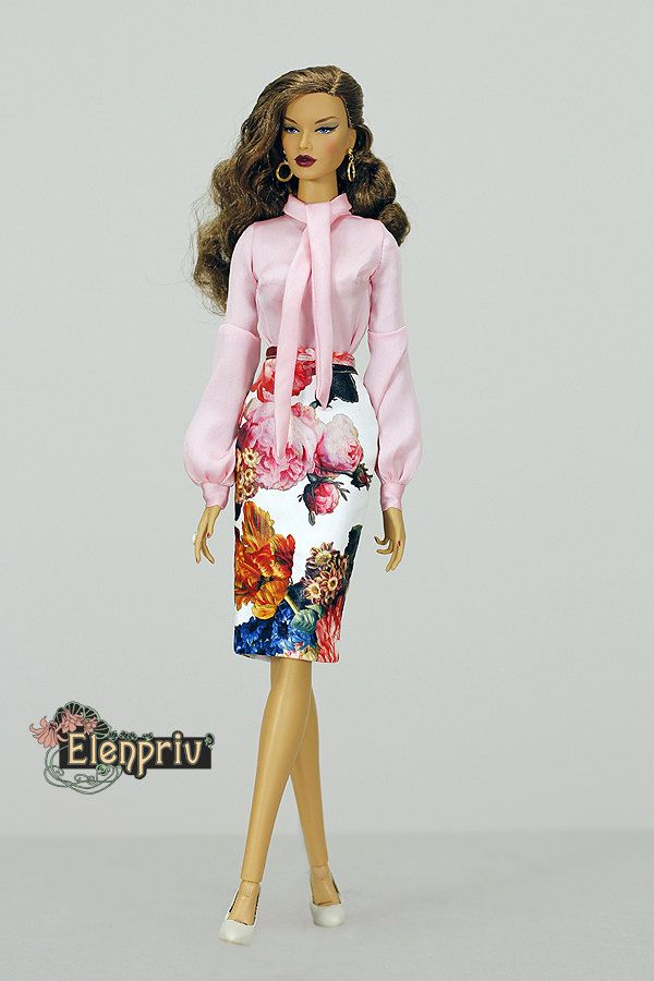 """ELENPRIV white floral printed leather skirt for Fashion royalty FR16 ITBE 16"""" and similar body size dolls. by elenpriv on Etsy"""