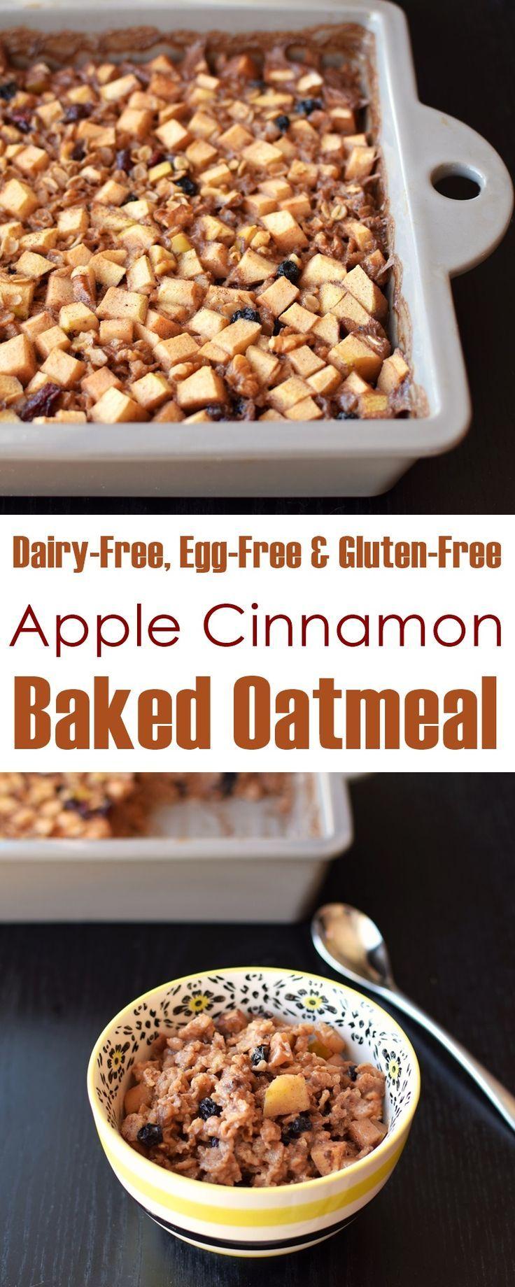 Vegan Apple Cinnamon Baked Oatmeal Recipe (dairy-free, egg-free, gluten-free and plant-based; optionally nut-free)