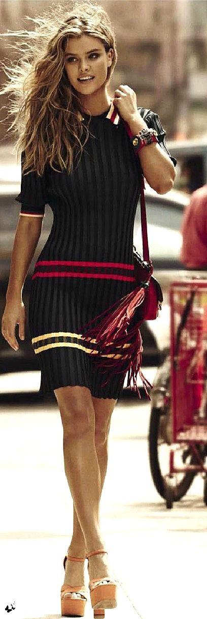 Nina Agdal for Grazia France July 2014: Dress, Celine. Shoes, Miu Miu. Bag, Gucci. Bracelet, Prada.