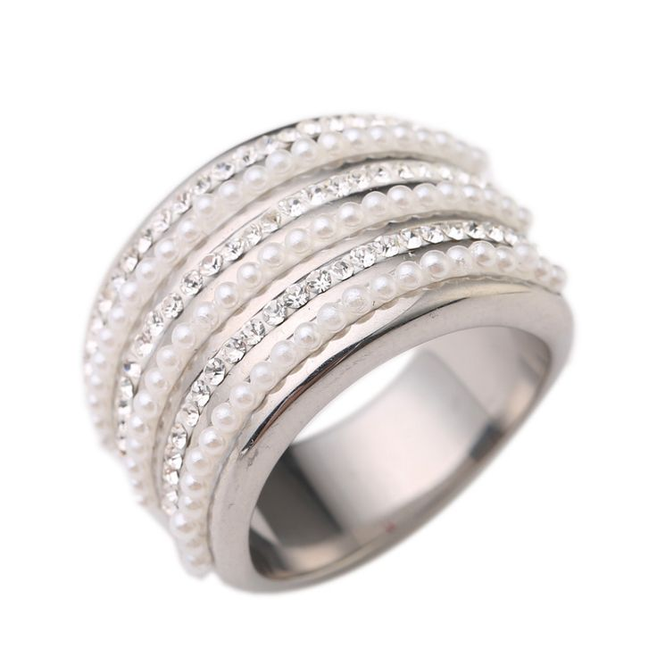 Top Quality Stainless steel Wedding Rings For Women 316L Stainless Steel Engagement Fashion  Austrian Crystal Jewelry