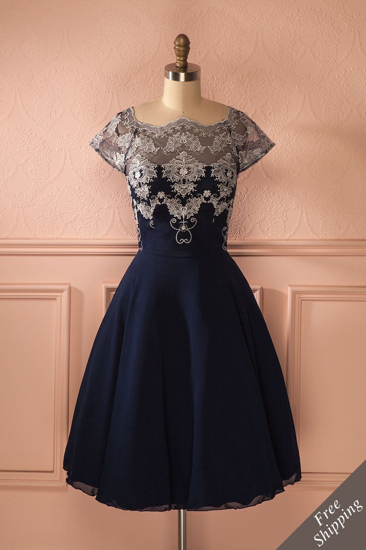 Camélie - Navy and silver embroidered dress