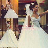 Vestido romántico Vestido De Noiva Casamento Princesa sin tirantes Appliques opacidad Vestido De boda trasero 2015 Vestido De boda nupcial