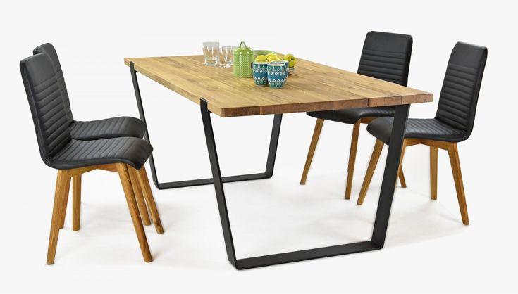 Étkezőszett indusztriális stílusban, tömörfa Medved asztal