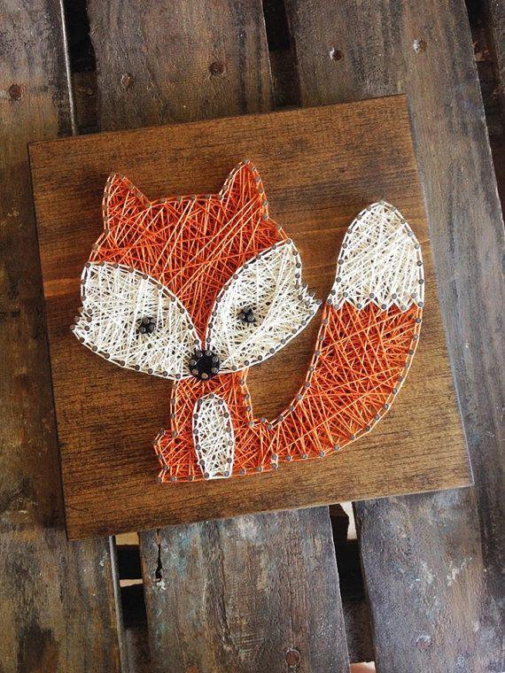 string art made to order strig art string and nail art nursery decor fox string art baby. Black Bedroom Furniture Sets. Home Design Ideas