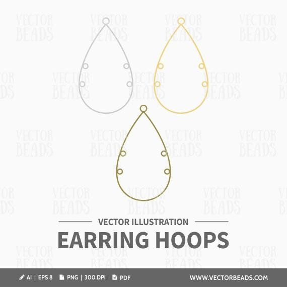 Vector Clipart Set Of Teardrop Earring Hoops Instant Download