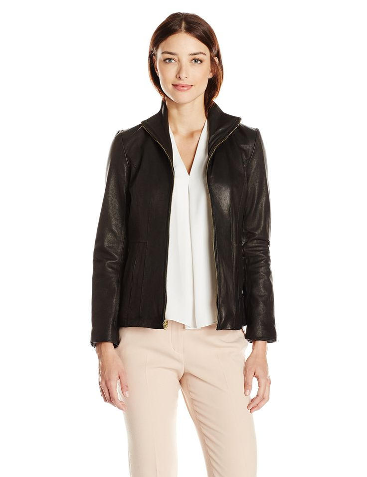 Cole Haan Women's Wing Collar Lether Jacket, Black, M