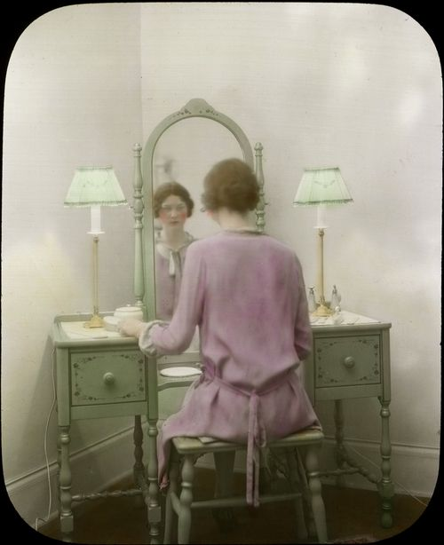 Autochrome of a woman in the mirror, via http://www.seattle.gov/CityArchives/