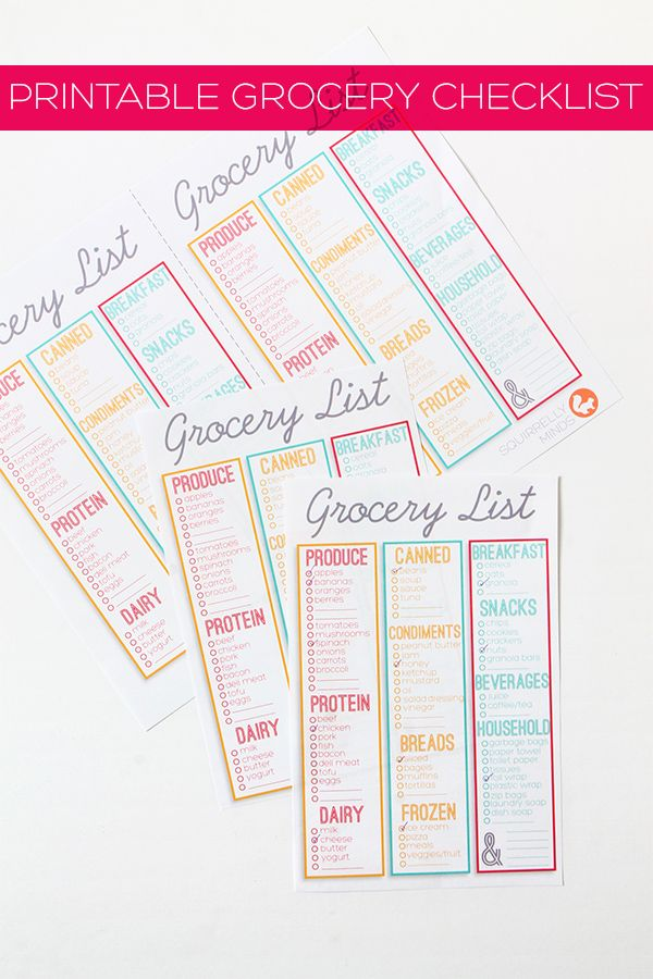 Printable Grocery Checklist | Squirrelly Minds