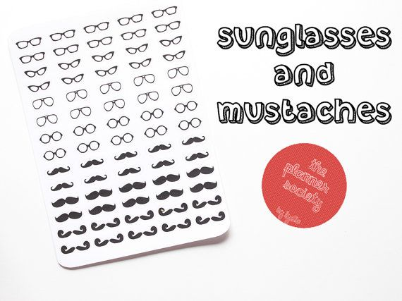 Sunglasses and Mustaches Stickers Set di ThePlannerSociety su Etsy