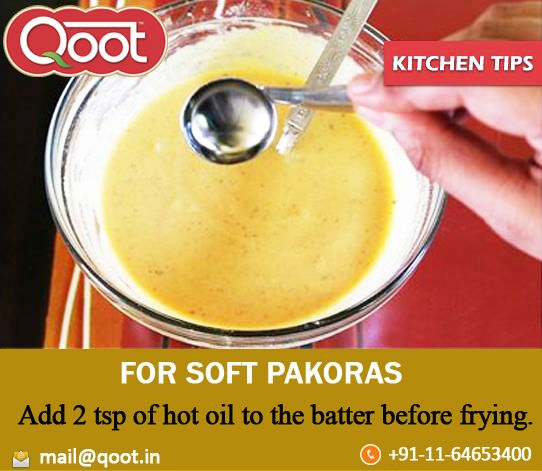 Kitchen Tip http://www.qoot.in/ #Oil, #Pakoras , #khakhra , #India, #uraddalpapad , #Pickles, #QootMasti