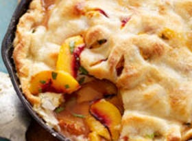 Grilled Skillet Peach Pie: The peaches are grilled then made into a