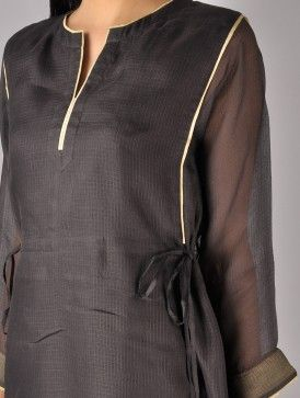 Black Kota Silk Tassel Tunic