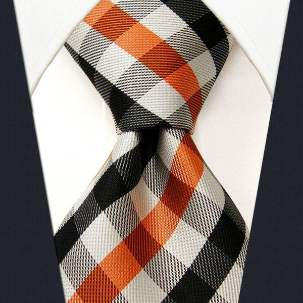 P1 Brand New Checked Orange Black White Men's Ties Extra Long Size Neckties 100% Silk Jacquard Woven Fashion