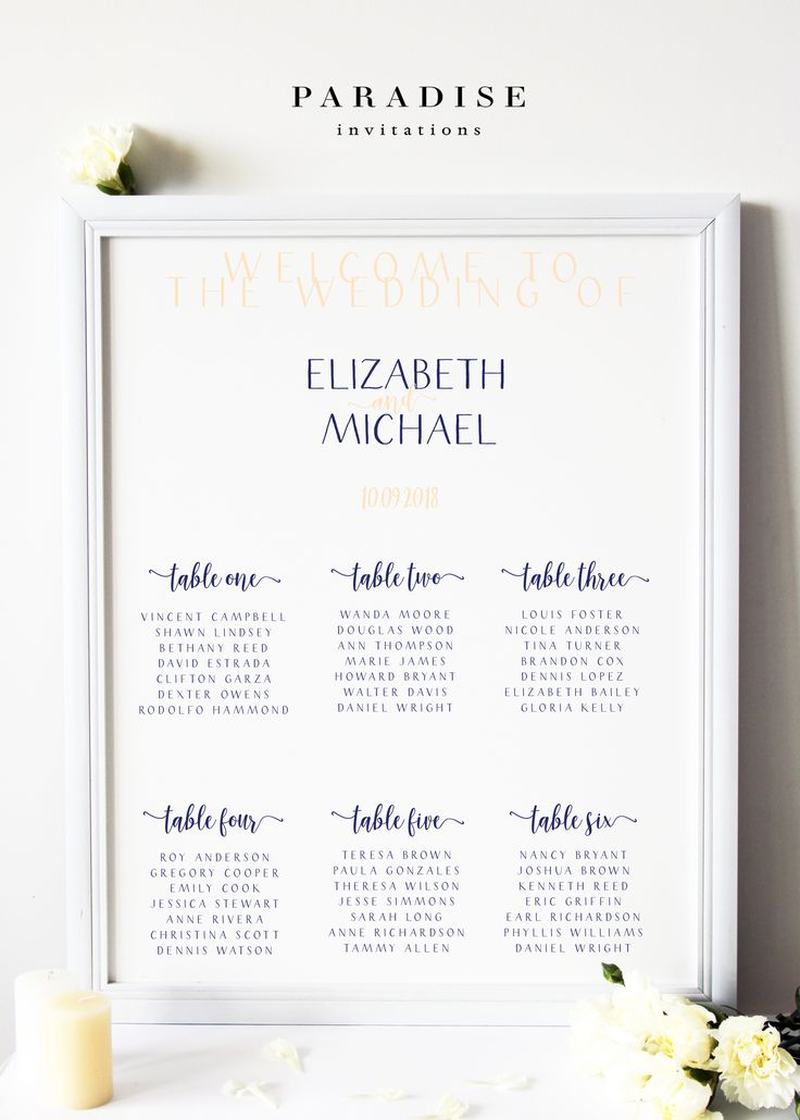 Wedding Table Seating Chart, Navy Blue and Beige, Modern and Elegant by Paradise Designs