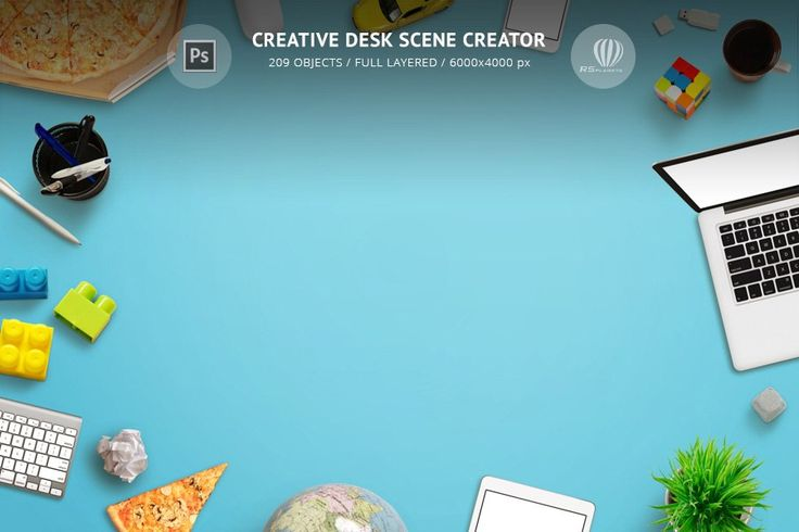 Creative Desk Scene Creator is a Photoshop box of isolated high resolution images for creating your own creative desk top view scene! This product can be used for making banners for your clients. Use PSD for design print materials in the form of flyers, posters, billboards… High resolution of 6000×4000 pixels is sufficient for this.