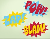 Three-Color Superhero Wall Decals - Comic Book Sound Effects Word Bursts Blam Zap Pow, Super Hero Decal, Super Hero Wall Decor. $46.00, via Etsy.