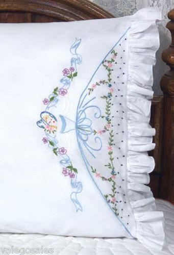 Embroidery Ribbon Pillowcases