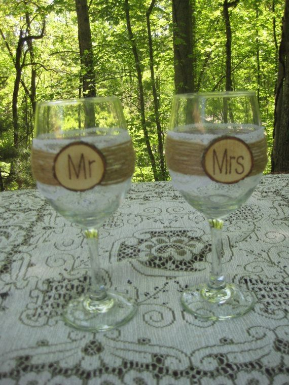 Rustic Wedding Bride and Groom Wine Glasses Mr and Mrs Burlap and Lace on Etsy, $26.00 by Shilpa