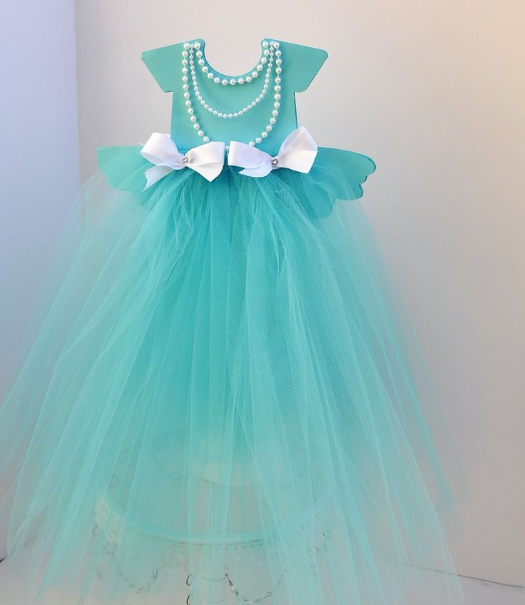 Tiffany Blue Tulle Centerpiece for Bridal Showers, Baby Showers, Birthday Parties, Engagements, Christenings, Baptisms.  Tutu Tiffany Blue Skirt w/ Pearls & Bows