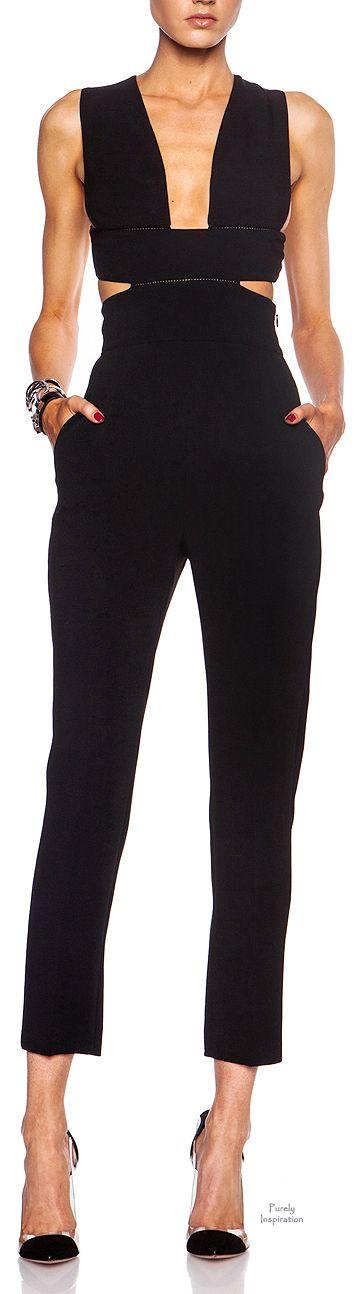 Stella McCartney Cut Out Rayon-Blend Jumpsuit in Black |