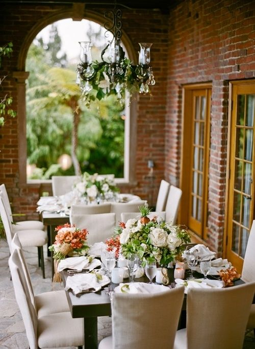 Summer tablescape with white, green and peach: