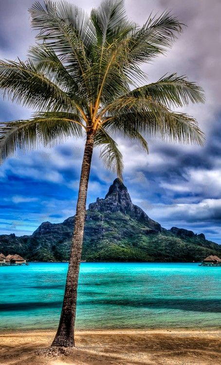 View from the beach at the Intercontinental Thalasso Spa on Bora Bora in French Polynesia