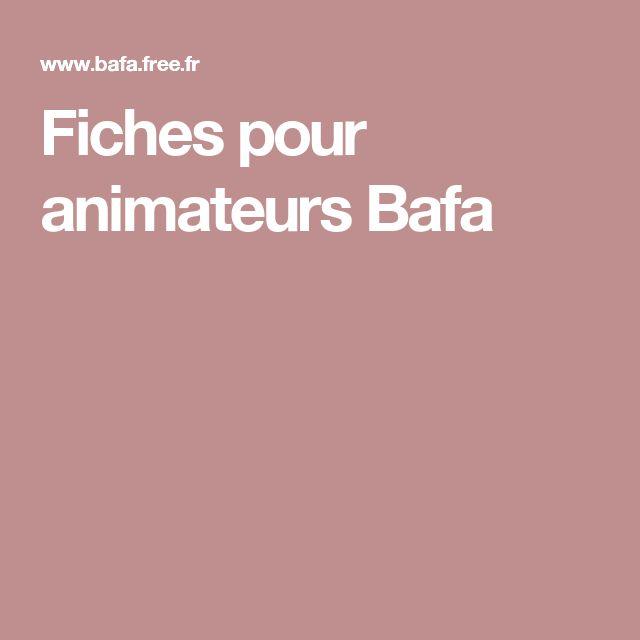 Fiches pour animateurs Bafa