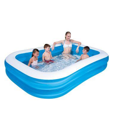 Zwembad 211 x 132 x 46 cm  Rechthoeking zwembad met twee gelijke ringen gemaakt van stevig vinyl en met een watercapaciteit van wel 400 liter. Het zwembad is 211 x 132 x 46 cm en mag deze zomer niet ontbreken in de achtertuin.  EUR 11.00  Meer informatie