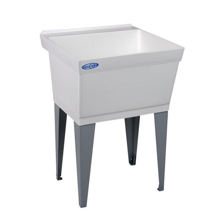Mustee 23in x 235in 1basin white freestanding laundry