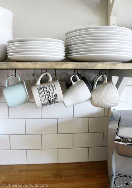 open shelving hanging mugs